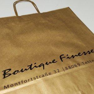 Braune Papiertüte Boutique Finesse